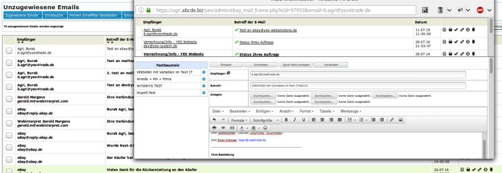 Kundendienst: integriertes Emailsystem Mailmaster (YES-System)