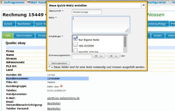 Kundendienst: Quicknotiz erstellen, um Termin für sich oder andere Bearbeiter zu erfassen (YES-System)