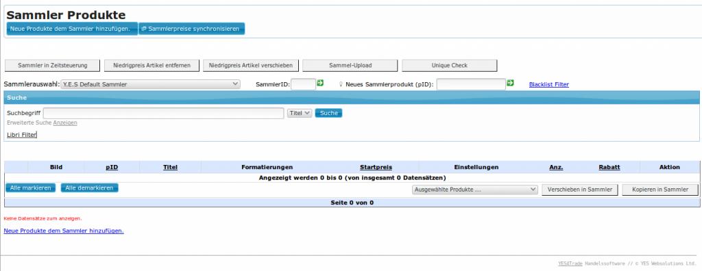 Kategoriefunktionen in YES-System: Sammlerprodukte Übersicht (YES-System)bestimmen