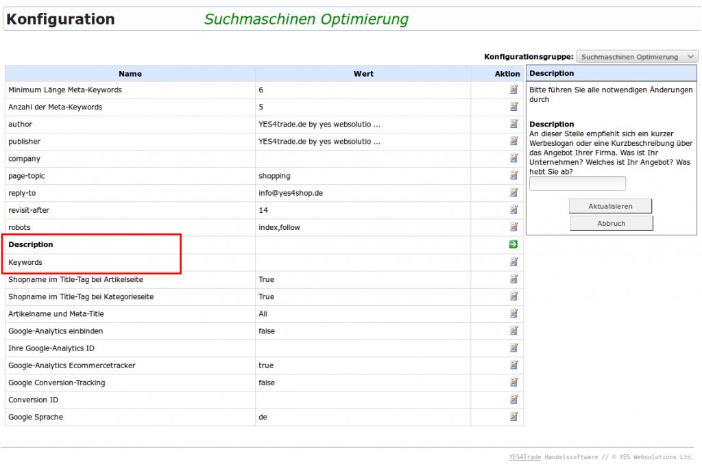 Suchmaschinen Optimierung SEO: SEO-Beschreibung (YES-System)