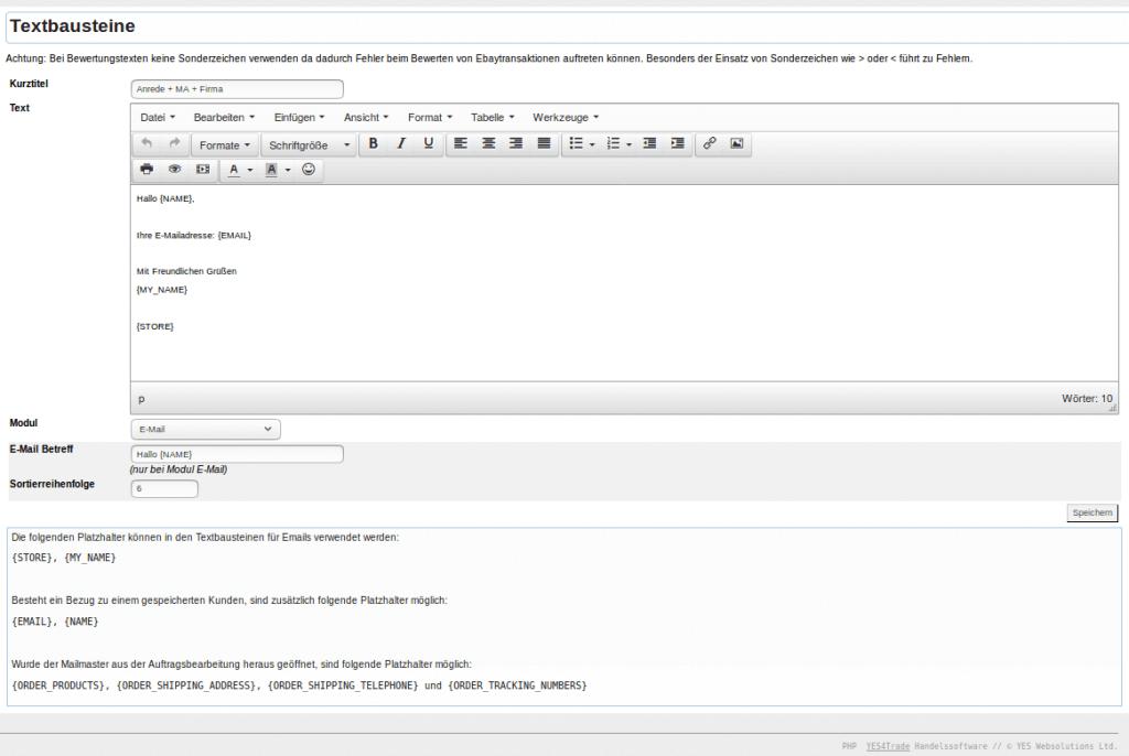 Textbausteine: Text mit Bausteinen (YES-System)