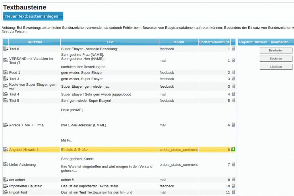 Textbausteine: Textbausteinübersicht (YES-System)
