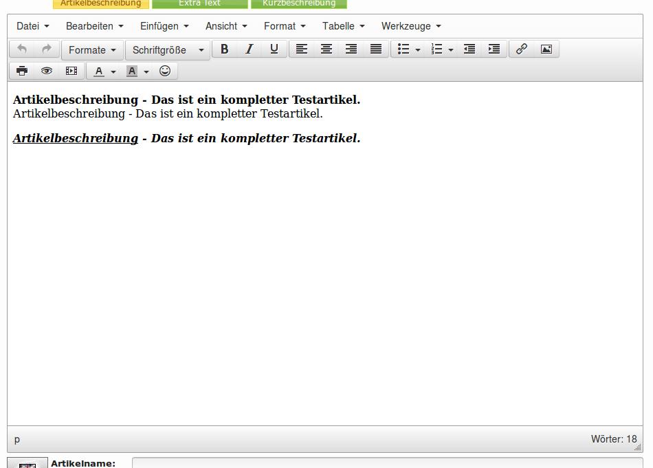 HTML-Editor: HTML-Editor mit Text in verschiedenen Formatierungen