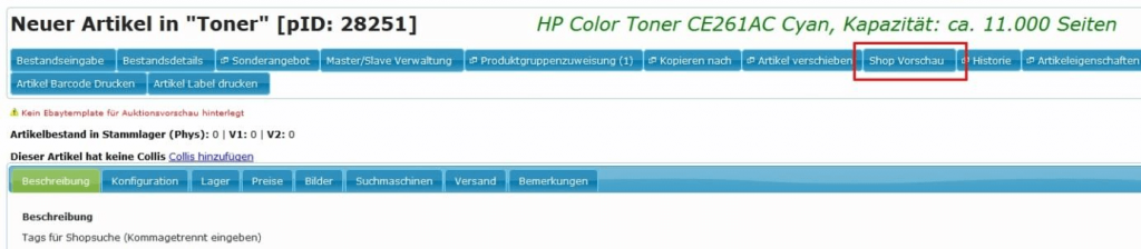 Stammartikel: Produktgruppen-Merkmale-Vorschau (YES-System)