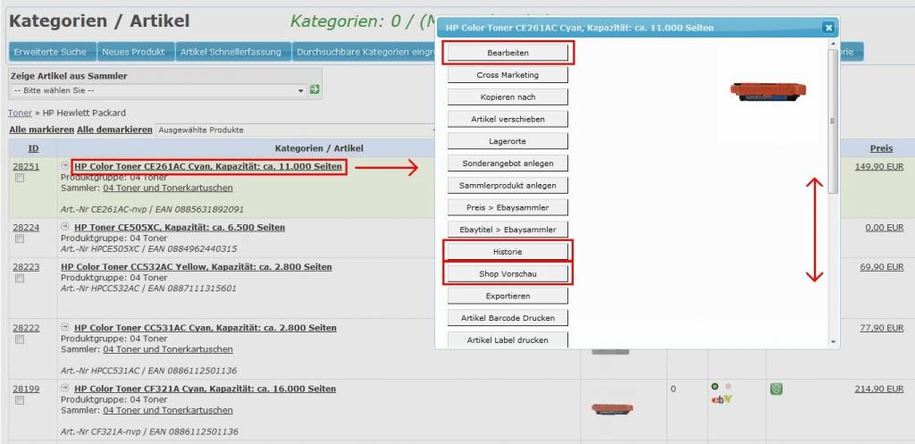 Stammartikel: Produktgruppen-Merkmale-Vorschau-Listing (YES-System)