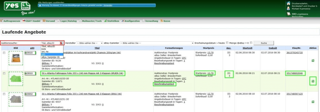 Laufende Angebote (ebay): Laufende Angebote Liste (YES-System)