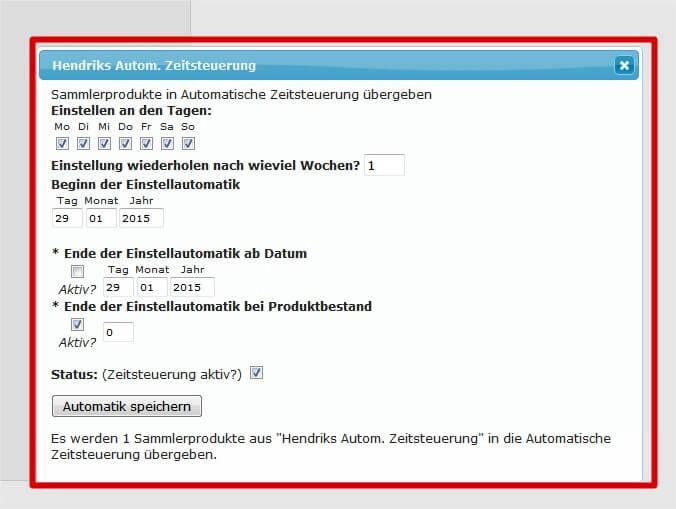 Automatische Zeitsteuerung: Automatikzeitsteuerung Details (YES-System)