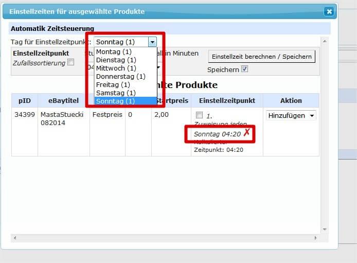 Automatische Zeitsteuerung: Einstellzeiten und Intervalle Wochentage (YES-System)