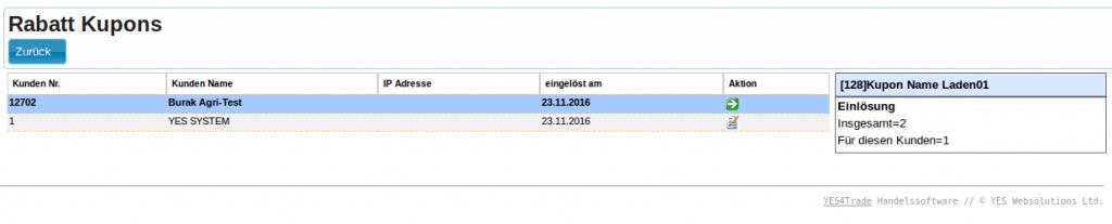 Kupons Gutscheine: Gutschein-Report (Auswertung., Übersicht)