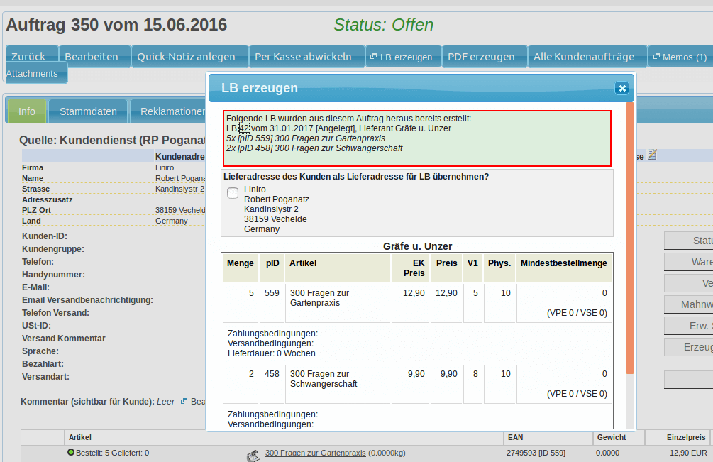 Lieferanten Bestellungen - Lieferantenbestellung aus Auftrag erzeugen (YES-System)