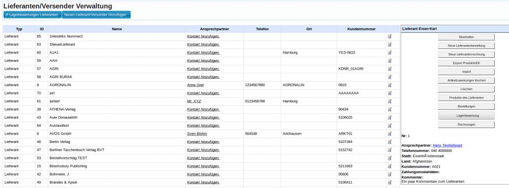 Lieferanten und ihre optimale Verwaltung: Lieferantenliste (YES-System)