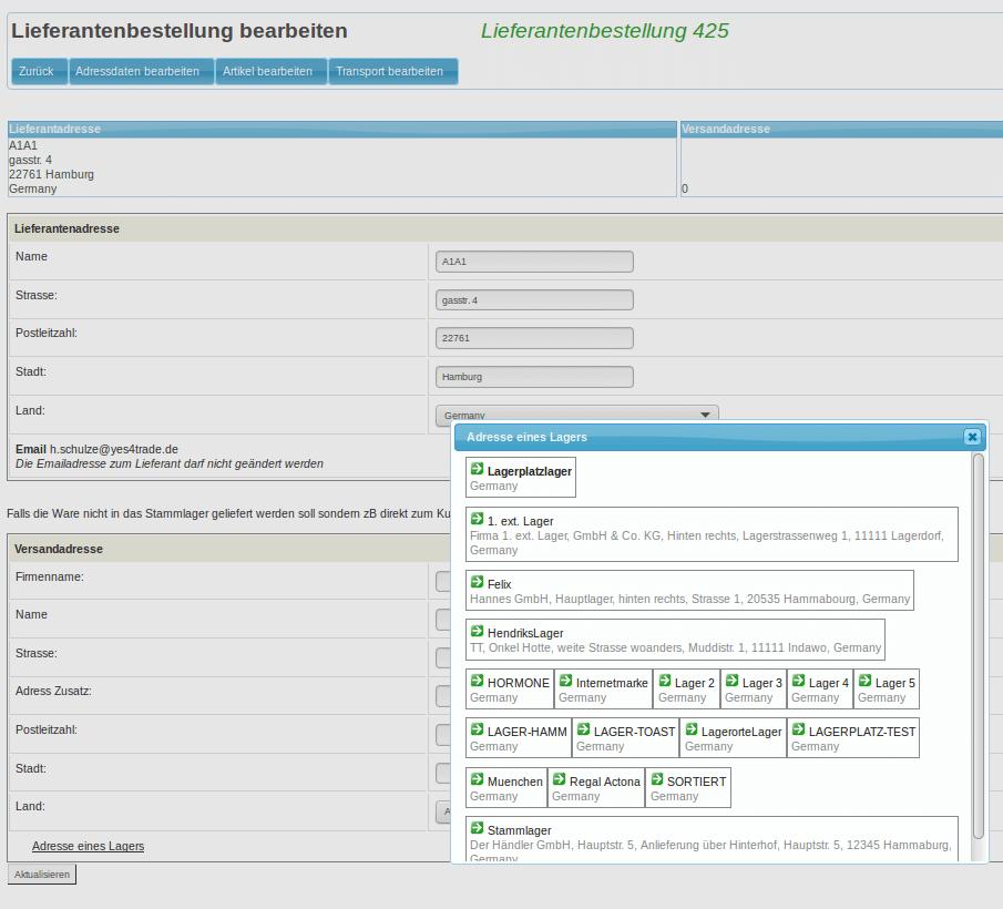 Lieferanten Bestellungen - Lieferantenbestellung bearbeiten (YES-System)