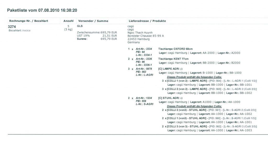 Dokumente zum Versand: Paketliste (YES-System)
