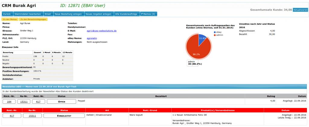 CRM System: CRM Übersicht mit Gesamtumsatz nach Herkunftsquellen (YES-System)