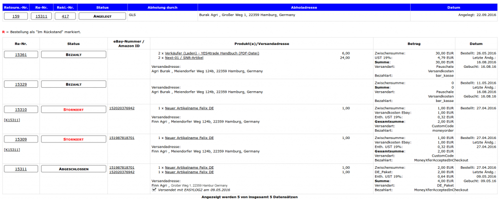 CRM System: CRM Retourenübersicht mit Detailinformationen (YES-System)