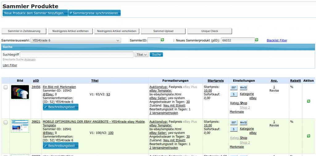 Ebay Varianten Set: ebay Sammlerprodukte Übersicht (YES-System)