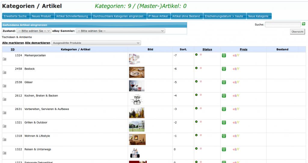 Artikelverwaltung: Kategorien und Artikel (Übersicht)