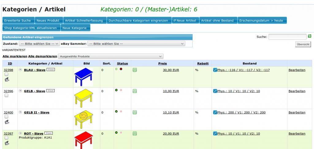 Kategoriefunktionen in YES-System: Kategorienliste (YES-System)