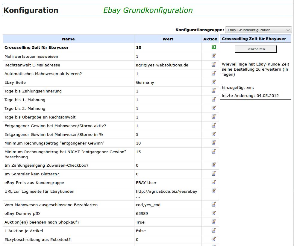 Ebay Grundkonfiguration: Übersicht Ebay-Grundkonfiguration (YES-System)