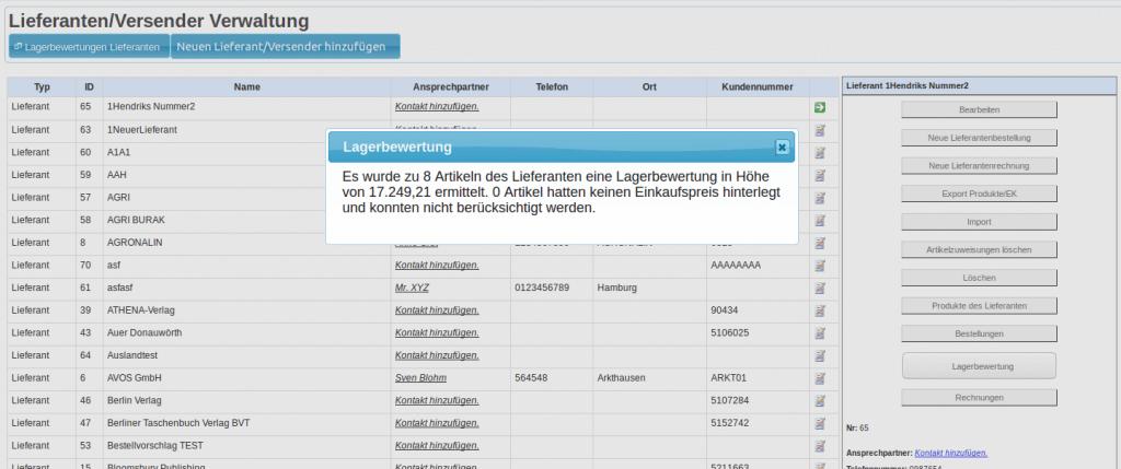Lieferanten und ihre optimale Verwaltung: Lieferant mit Lagerstandbewertung (YES-System)
