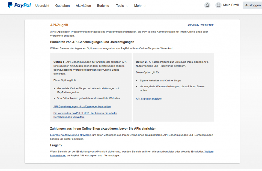 Paypal Module Grundeinrichtung: PayPal 2 (YES-System)