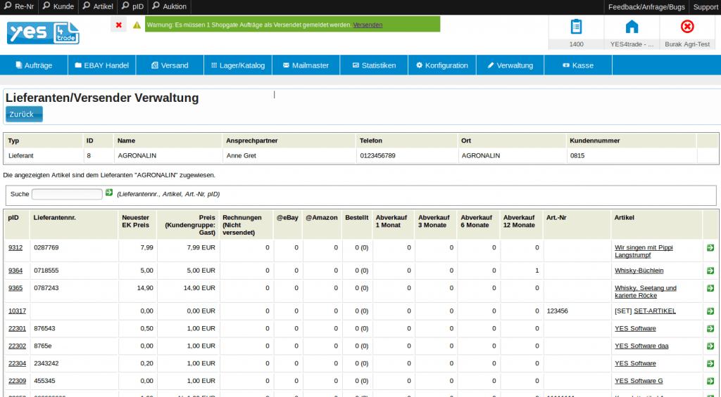 Lieferanten und ihre optimale Verwaltung: Lieferant mit Artikeldetails (YES-System)