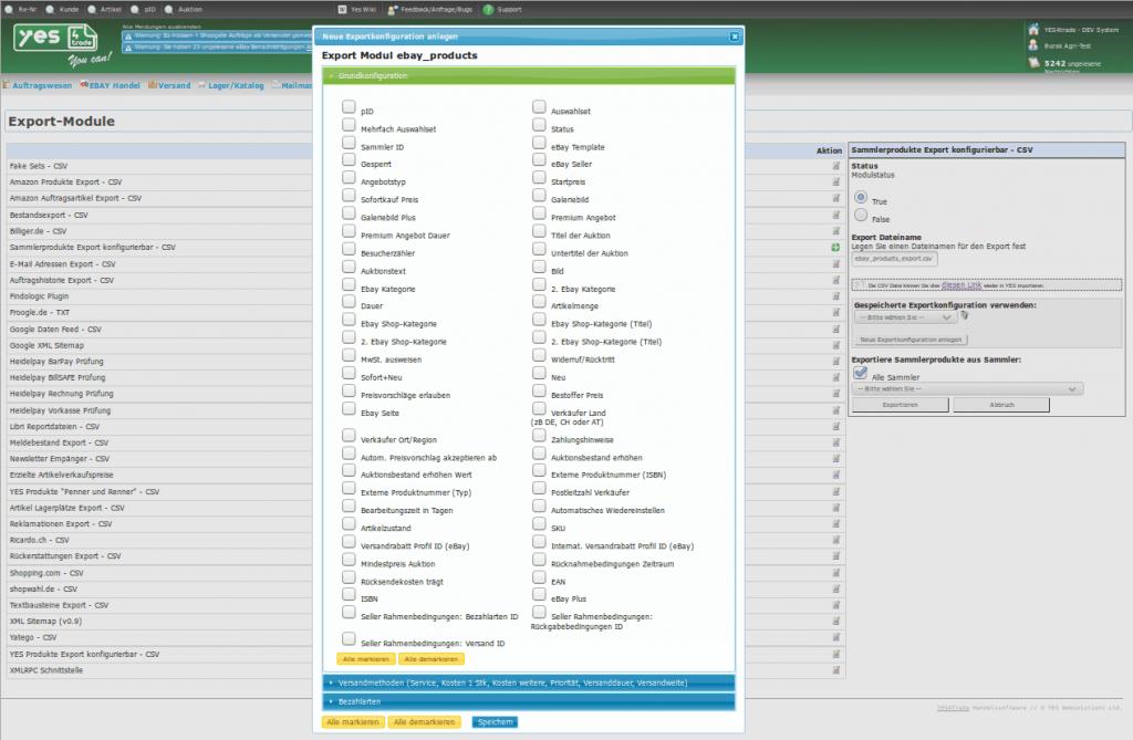 Sammler Ex-Import: neue Exportkonfiguration anlegen (YES-System)