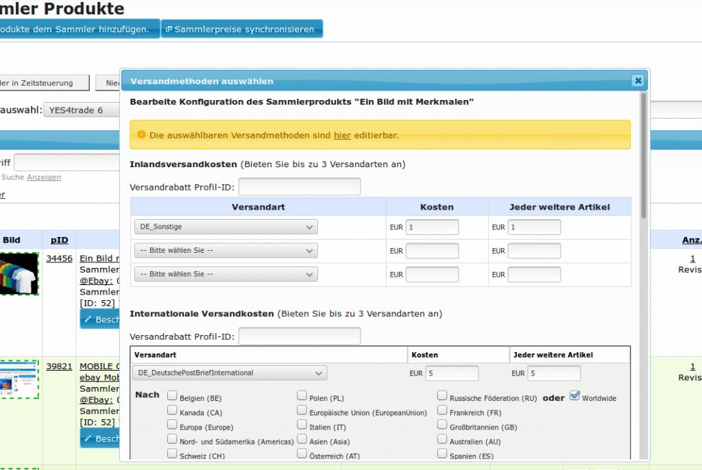 Versandkosten: Sammler-Produkte Versandmethoden (YES-System)