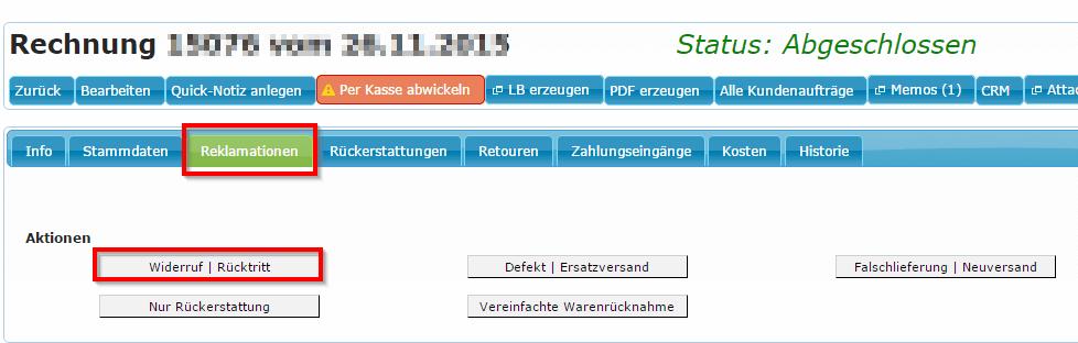 Abwicklungsbeispiele Reklamationstypen: Widerruf (YES-System)