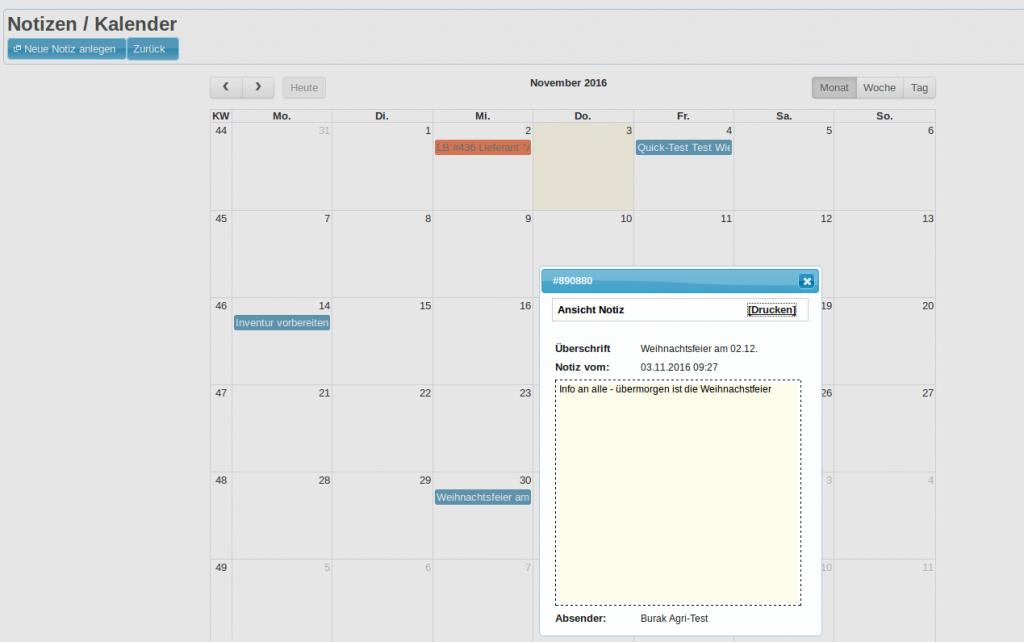 Quick-Notizen: Kalender Monatsansicht