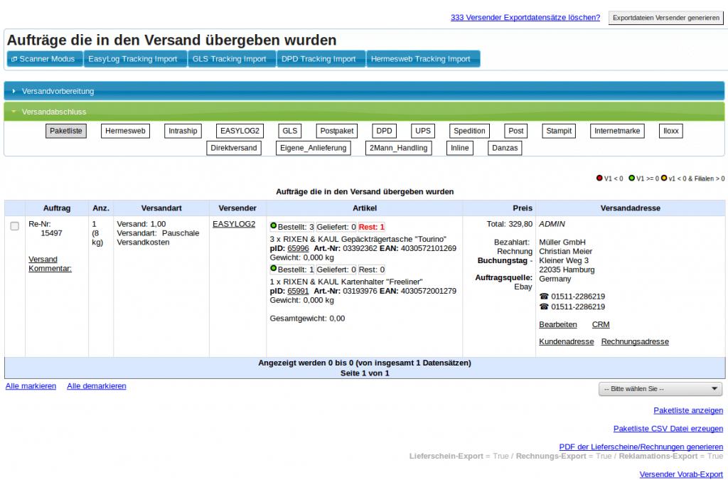 Teillieferung: Versandabschlussliste (YES-System)