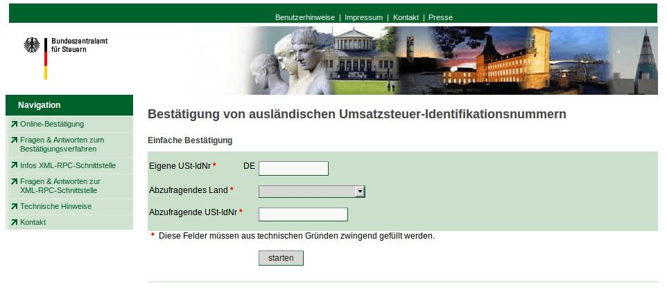 Umsatzsteuer-ID Prüfung: 'Bestätigung von ausländischen Umsatzsteuer-Identifikationsnummern' Webseite Bundesfinanzministerium Deutschland