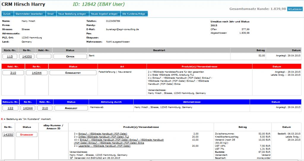 Kurzanleitung Auftragserfassung: CRM-Übersicht Kunde (YES-System)