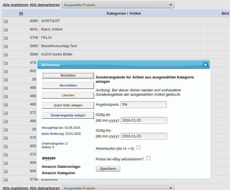 Sonderangebote und Rabatte: Sonderangebote für Kategorie zuweisen (YES-System)