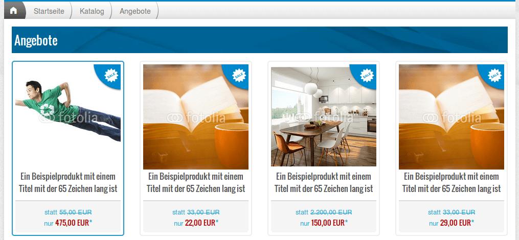 Sonderangebote und Rabatte: Sonderangebote-Seite im Webshop (YES-System)