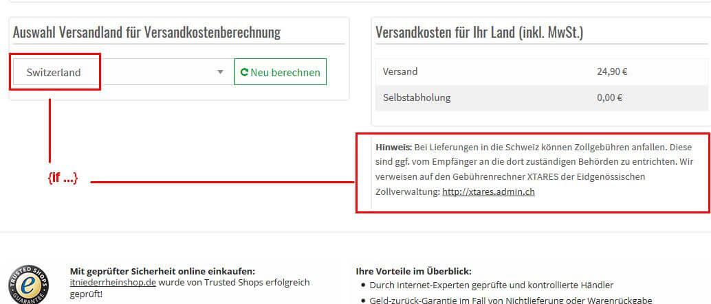 Onlinehandel - Verkauf in die Schweiz