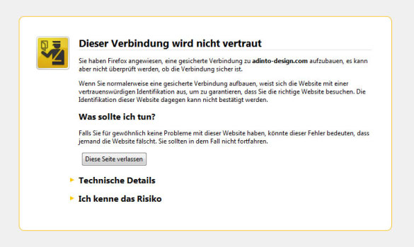 Ebay User Seller im System registrieren: Browser trotz unsicherem Zertifikat auf Webseite leiten (1)