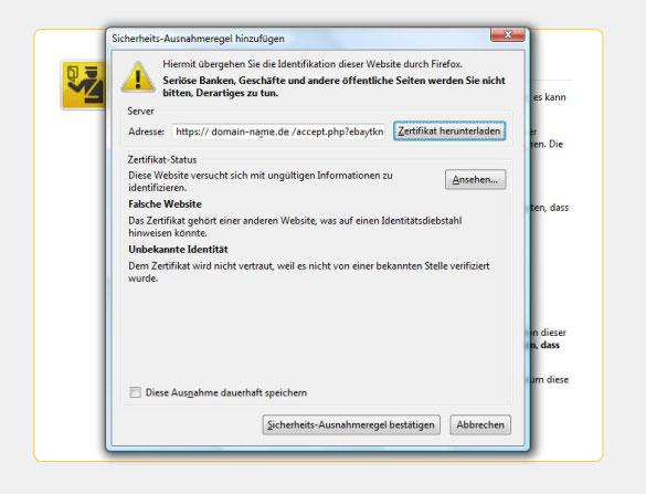 Ebay User Seller im System registrieren: Sicherheits-Ausnahmeregel hinzufügen (2)
