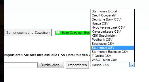 Zahlungseingang per Bankimport (Onlinebanking)