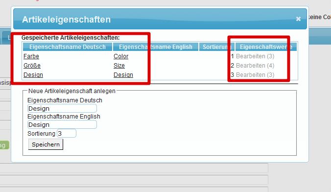 Produktvarianten: Artikeleigenschaften (YES-System)