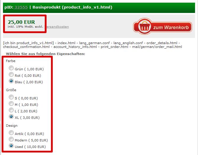 Produktvarianten: Übersicht Varianten, Aufschläge bei anderer Auswahl anderer Preis (YES-System)