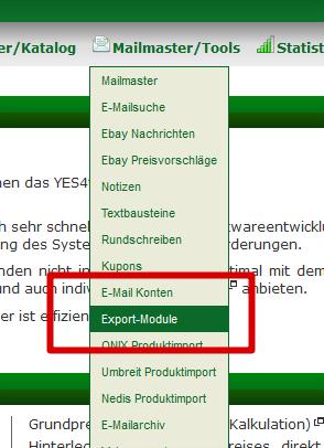 Flatratenewsletterimport: Export-Module auswählen