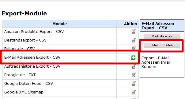 Flatratenewsletterimport: Export-Modul Emailadressen-Export als CSV