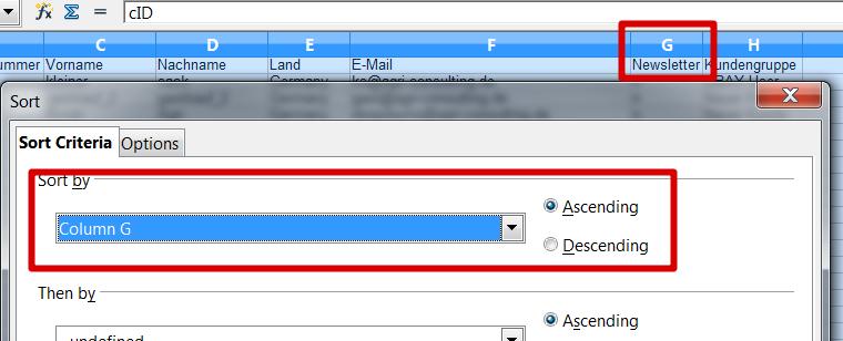 Flatratenewsletterimport: Column G = Spalte G wird aufsteigend sortiert