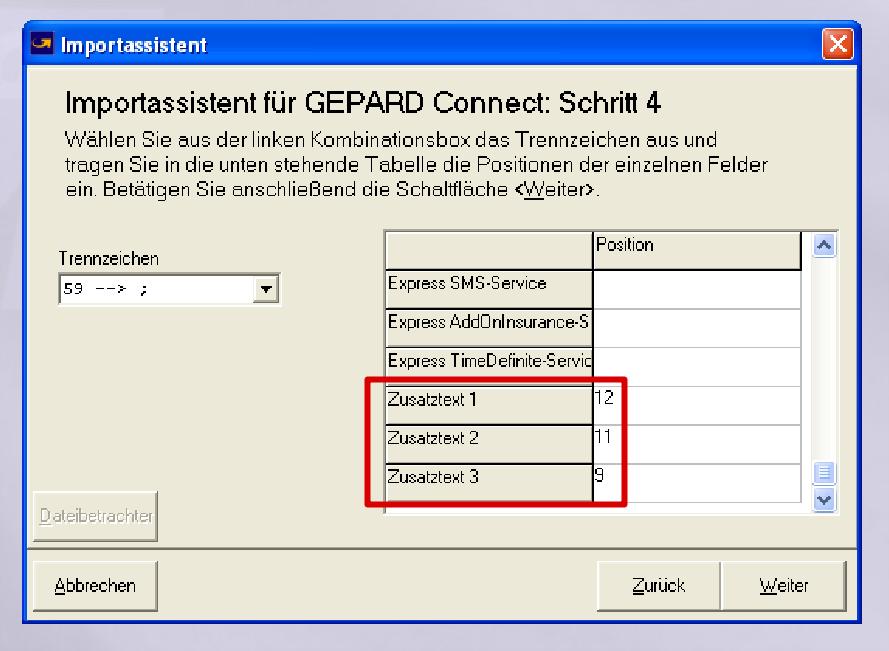 GLS Gepard Connect: Zusatztexte = 12-11-9 (YES-System)