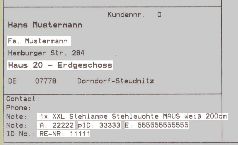 GLS Gepard Connect: Ergebnisbeispiel (YES-System)