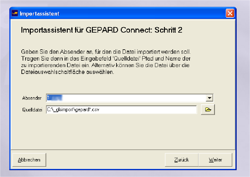 GLS Gepard Connect: Absendereingabe (YES-System)