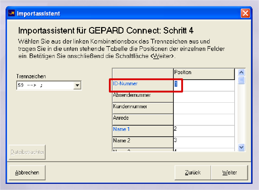 GLS Gepard Connect: ID-Nummer = 1, Name 1 = 2 (YES-System)