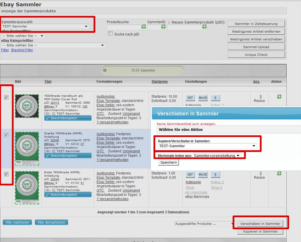 Massenbearbeitung von Sammlerprodukten: Sammlerartikel mit neuen Einstellungen in selben Sammler verschieben (YES-System)