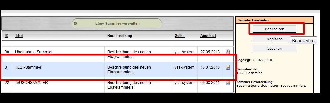 Massenbearbeitung von Sammlerprodukten: Sammlerauswahl (YES-System)